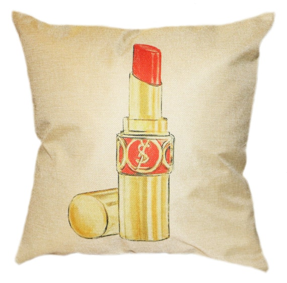 Black Chanel Throw Pillow : Red Lipstick Chanel Inspired Pillow Cover by GREENPANTHERINC