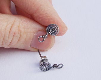 silver spiral post finding / sterling post for dangle earrings / rustic oxidized silver ear wire