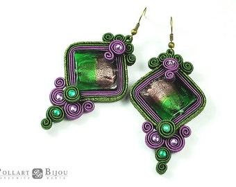 Soutache earrings Soutache bilateral Green jewelry Purple jewelry Venetian glass