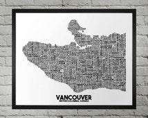 Vancouver British Columbia Neighborhood and Street Name Typography City Map Print