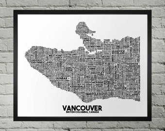Vancouver British Columbia Neighbourhood and Street Name Typography City Map Print