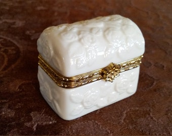 Vintage Ivory Roses and Gold Trim Hinged Trinket Box