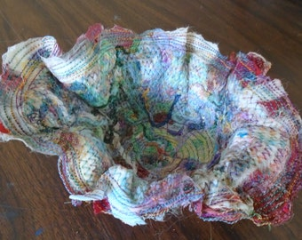 Red fiber art bowl