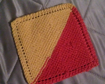 Multicolored - Yellow & Tangerine Handmade 100% Cotton Dishcloth
