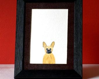 Little John, portrait of french bulldog in watercolor