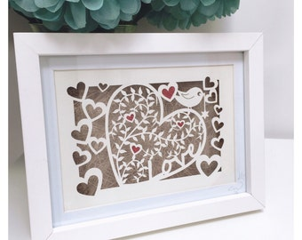 Leafy Love-Heart - Original Framed Papercut Art