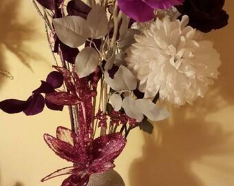 Glitter vase and flowers
