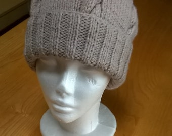 Hand Knitted Aran Style Hat