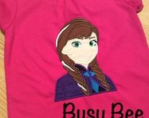 Appliqued Frozen Anna Shirt