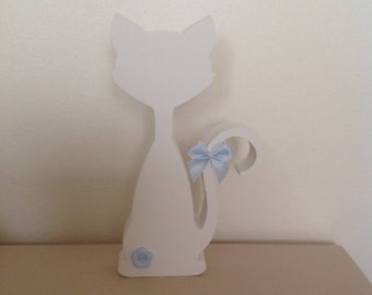 Hand Painted Wooden White Cat