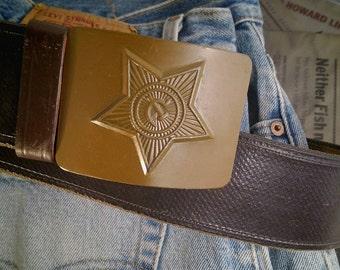 Vintage Leather Belt w USSR Belt Buckle 38'' vintage belt vintage Russia menswear accessory vintage metal buckle