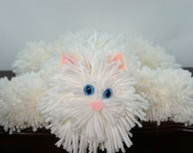 Soft White Yarn Cat Collectible, Cream Colored Yarn Kitty with Blue Cat Eyes, Handmade Yarn Pom Pom Cat, Stuffed Animal Alternative