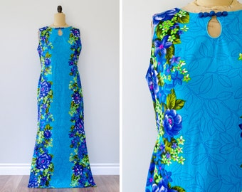 Vintage 1960s Hawaiian Togs Maxi Dress // Made in USA - Size L