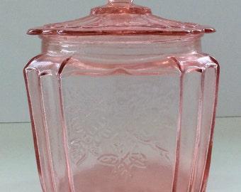 Pink Glass Biscuit Jar or Cookie Jar, with Lid and Floral Motif