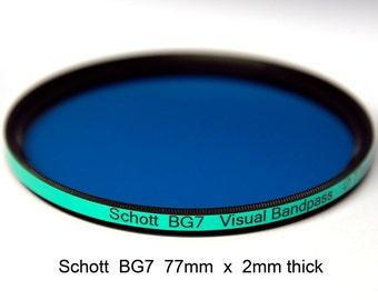 Schott BG7 77mm x 2mm thick Visual Bandpass, IR Suppression Camera Filter