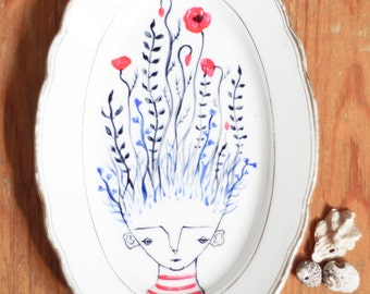 Ceramic Dish Flower - Vintage Hand-Painted