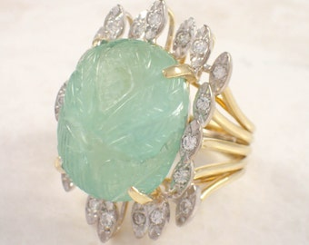 18K White and Yellow Gold Emerald and Diamond Ring
