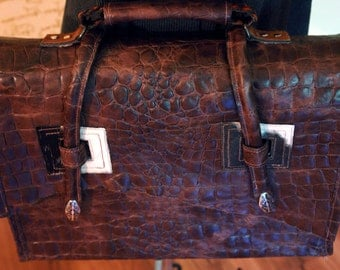 Embossed Alligator Leather and Hair-on Pony Skin Briefcase/Messenger Bag