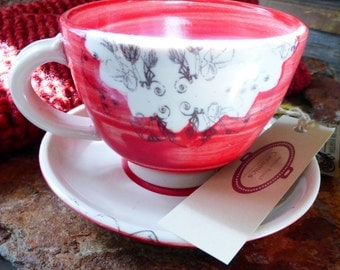 Porcelain Mug - Red and White