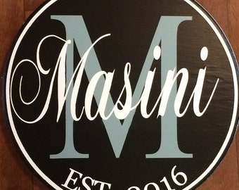 """Personalized Family Established Sign--15"""" Wedding, anniversary, and housewarming gift, custom design"""