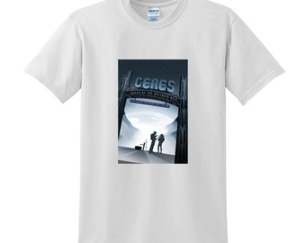 "NASA Visions of the Future ""Ceres"" Tshirt Space Travel Posters Space T-shirts Science Sci-Fi Fashion Birthday Present Gifts for Men NASA Tee"