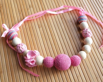 Pink nursing necklace / teething necklace / breastfeeding necklace