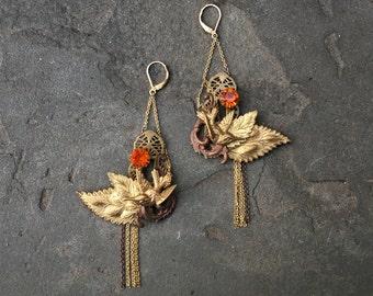 Persimmon Bird Earrings - Antique Brass Stamping - Fairytale Woodland Filigree Leaves Hummingbirds