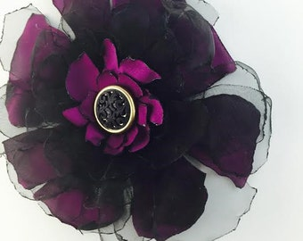 Purple and Black Brooch/Hair Accessory