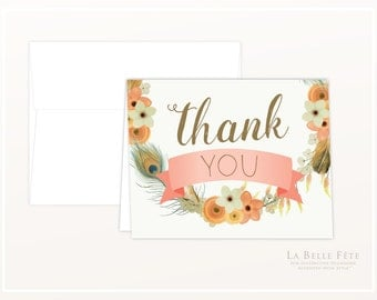 WATERCOLOR FLORAL + FEATHER Thank You Cards