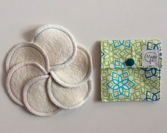 Reusable cleansing pads and storage pouch - zero waste - reusable cleansing cottons - make-up Remover pads