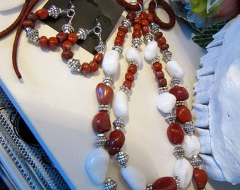 Double strand White Jade and Red Jasper Necklace set