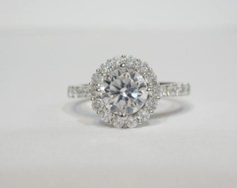 Round Cut CZ Engagement Rings, Round Halo Engagement Ring, Round CZ Engagement Rings, Round Cut Promise Ring, Art Deco Engagement Ring