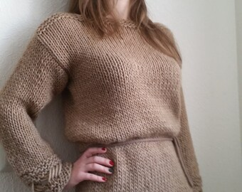 Brown sweater, pulower, knitted sweater, handmade sweater, sweater dress