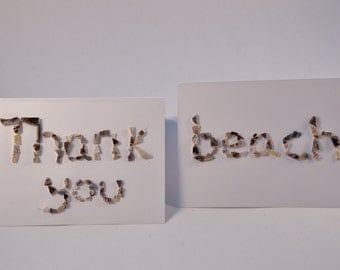 Greeting cards made from crushed mussel shells
