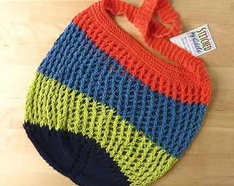 String mesh market bag, coral blue and lime knitted stretch bag, crochet bag, large eco environmentally friendly shopping bag