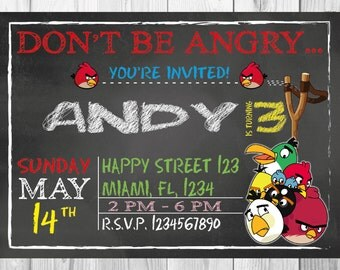 SALE - 50% OFF Angry Birds Invitation - Chalkboard style - Angry Birds Party - Angry Birds  Birthday - Angry Birds birthday invitation