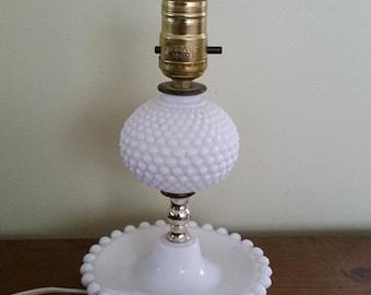 Hobnail Milk Glass Table Lamp vintage