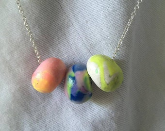 Handmade polymer clay necklace marbled pink yellow blue white purple on sterling silver chain