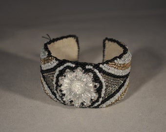 Stunning Beaded Silver, Black, Blue Beaded Bracelet/Cuff With Statement Flower