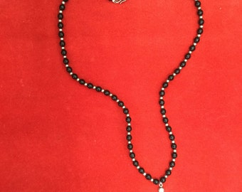 Beautiful Vintage Beaded Necklace With Large Silver Cross Pendant