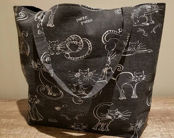 Large Cat print tote bag. Large cat bag, cat bags, fully lined with interfacing for added stability. Cat print fabric, cat tote bag.
