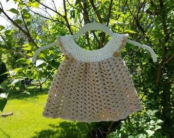 Crocheted baby dress. Newborn-3 months