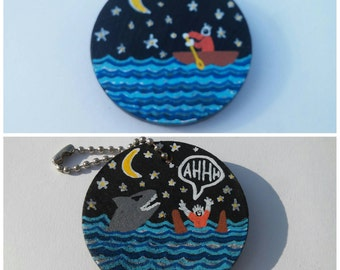 """Shark Attack Hand Painted 2"""" Wood Keychain"""