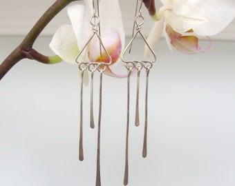 Sterling Silver Rain Drips Dangle Earrings