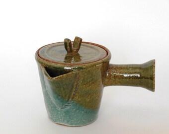 Handmade Teapot, Pottery Teapot, Japanese Teapot, Ceramic Teapot,  Kyusu (Oribe)