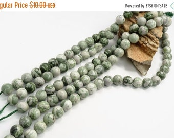 MID SUMMER SALE Natural Peace Jade 18mm Round Beads 16 inch Strand
