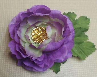 Purple hair flower with yellow jewel