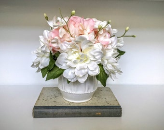 Silk Floral Arrangement: Pink Hydrangea, White Dahlias and orchids in a ceramic white vase