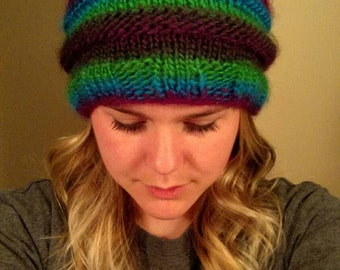 knitted hat with pom pom