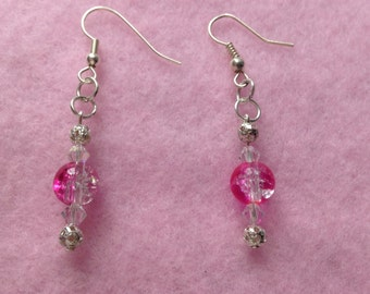 White & Pink Beaded Earrings.